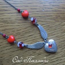 """Медальон """"Сердце с крыльями"""" красный"""