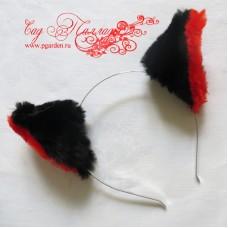 Черно-красные меховые ушки