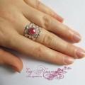"""Кольцо """"Ажурное серебристое"""" с розовым"""