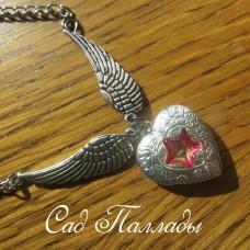"Медальон ""Сердце с крыльями"" красная звезда"
