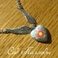 """Медальон """"Сердце с крыльями"""" желто-оранжевый цветок"""